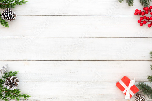 christmas and new year background christmas frame made of fir leaves pine cone