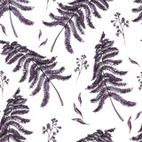 Watercolor seamless pattern with ferns  - 171039324