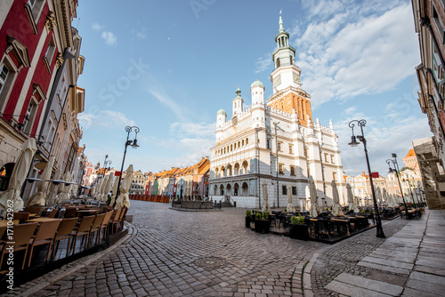 View on the Market square with beautiful town hall building during the morning light in Poznan, Krakow