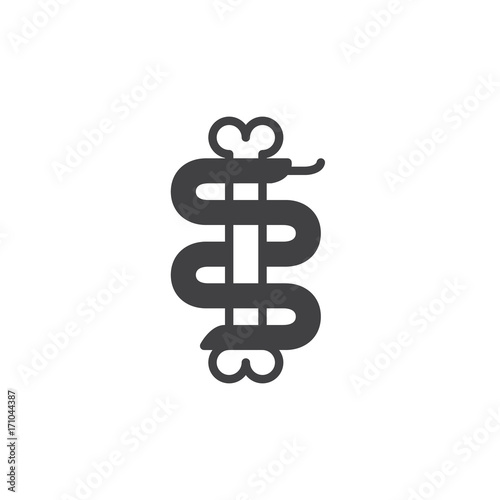 Snake with bone icon vector, filled flat sign, solid pictogram isolated on white Poster