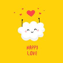 Cute Cloud With Hearts. Flat Style. Vector Cartoon Card.