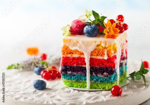 Spoed Foto op Canvas Dessert Slice of Rainbow Cake