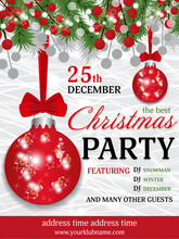 Christmas Party Invitation Template Background With Fir Branches And Red Berry And Red Balls With Bow. Vector