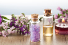 Essential Oil,sea Salt, Flowers And Candle.Spa Concept