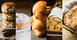Collage set pastry of various kinds. Croissants, Danish swirl, ensaimada, stollen, scones, apple pie calzone. Powdered with golden crust. High resolution banner size. Baking concept.