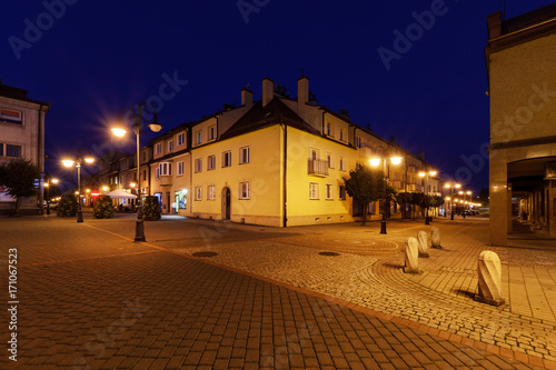 Rynek square in Zory after sunset