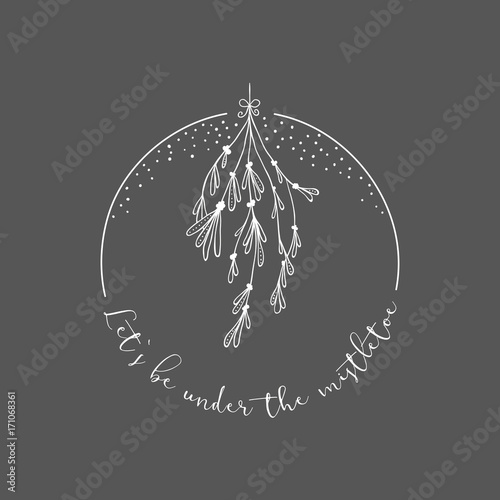 Fototapeta Christmas greetings with a mistletoe design