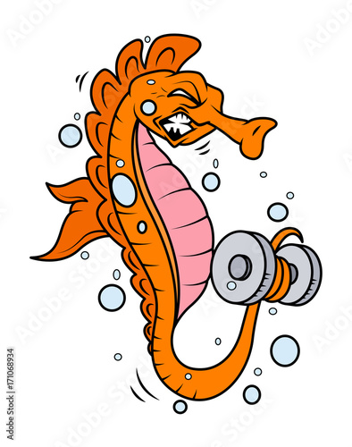 Cartoon Seahorse Doing Exercise Cartoon Clip Art Vector Character Buy This Stock Vector And Explore Similar Vectors At Adobe Stock Adobe Stock