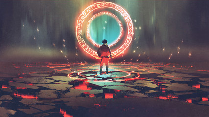 Naklejka man standing in front of magic circle with red light, digital art style, illustration painting