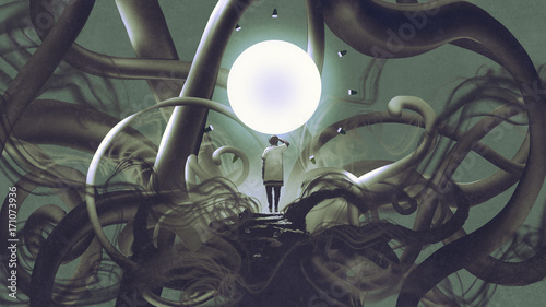 Foto op Aluminium Grandfailure man standing in dark place and looking at glowing circle, digital art style, illustration painting