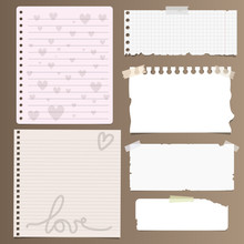 Set Of Notebook Paper Sheets - Chequered, Ruled With Heart And Rope Designs And Ripped Pieces Of Blank White Paper On Brown Background