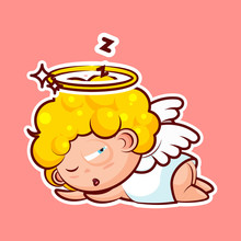 Sticker Emoji Emoticon, Emotion Sleep On Stomach, Lie Down, Doze, Sleepy Vector Nap Character Sweet Divine Entity, Heavenly Angel, Saint Spirit Angel Wings, Radiant Halo