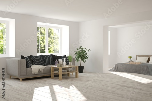 Photo sur Aluminium Taupe Idea of white room with sofa and summer landscape in window. Scandinavian interior design. 3D illustration