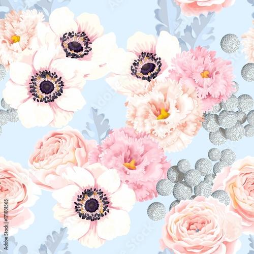 Stoffe zum Nähen Nahtlose Muster mit Rosen und eustoma