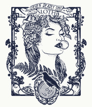 Sloth. Seven Deadly Sins Tattoo And T-shirt Design. Lazy Woman, Symbol Of Inaction, Apathy, Idleness, Melancholy, Depression, Boredom, Seven Mortal Sins. Sloth, Sleeping Missing Beautiful Girl Tattoo