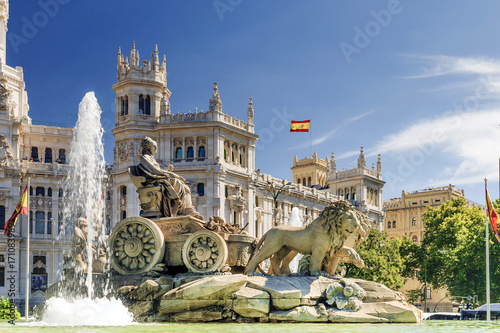Printed kitchen splashbacks Historical buildings fountain of Cibeles In Madrid, Spain