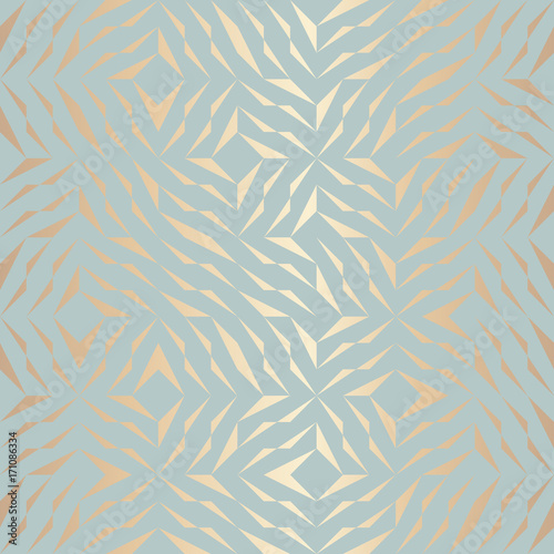 Seamless vector geometric golden element pattern. Abstract background copper texture on blue green. Simple minimalistic graphic print. Modern turquoise trellis grid. Trendy hipster sacred geometry