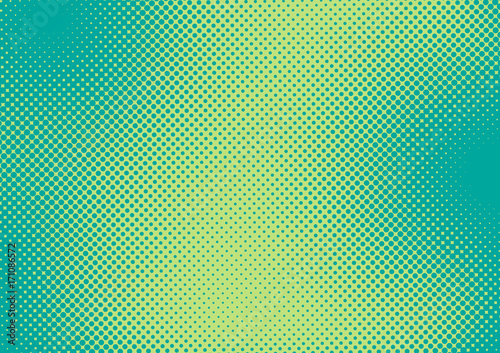 Photo  Bright green and turquoise pop art retro background with halftone in comic style