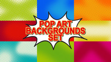 Pop Art Background Set With Ha...