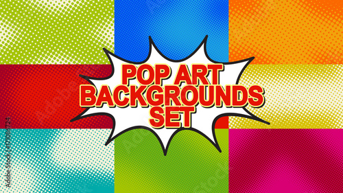 pop art background set with halftone dots vector retro comic dotted