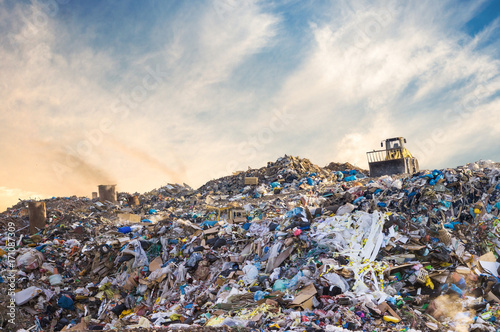 Fotografia, Obraz  Garbage pile in trash dump or landfill. Pollution concept.