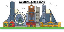 Australia, Brisbane. City Skyline: Architecture, Buildings, Streets, Silhouette, Landscape, Panorama, Landmarks. Editable Strokes. Flat Design Line Vector Illustration Concept. Isolated Icons