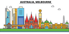 Australia, Melbourne. City Skyline: Architecture, Buildings, Streets, Silhouette, Landscape, Panorama, Landmarks. Editable Strokes. Flat Design Line Vector Illustration Concept. Isolated Icons