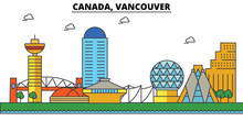 Canada, Vancouver. City Skyline: Architecture, Buildings, Streets, Silhouette, Landscape, Panorama, Landmarks. Editable Strokes. Flat Design Line Vector Illustration Concept. Isolated Icons