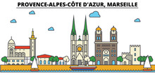 France, Marseille, Provence Alpes Cote D Azur. City Skyline: Architecture, Buildings, Streets, Silhouette, Landscape, Panorama, Landmarks. Editable Strokes. Flat Design Line Vector Illustration