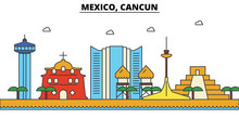 Mexico, Cancun. City Skyline: Architecture, Buildings, Streets, Silhouette, Landscape, Panorama, Landmarks. Editable Strokes. Flat Design Line Vector Illustration Concept. Isolated Icons