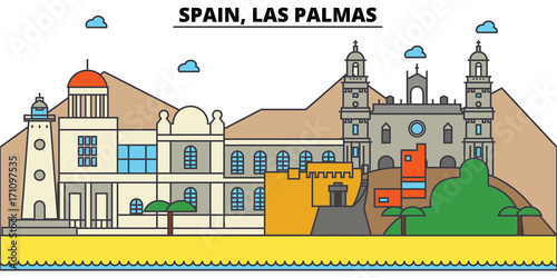 Spain, Las Palmas. City skyline: architecture, buildings, streets, silhouette, landscape, panorama, landmarks. Editable strokes. Flat design line vector illustration concept. Isolated icons