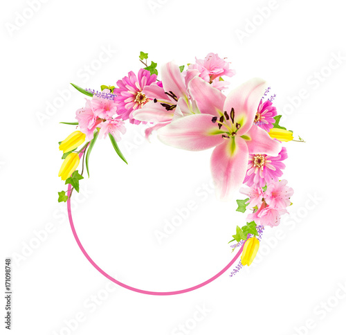 Collage of pink flowers around circle isolated on white