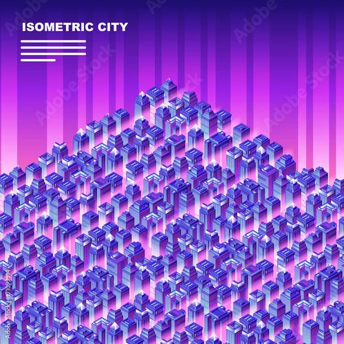 Plakat Izometryczne miasto z drapaczami chmur.