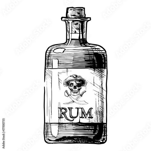 bottles of alcohol. Distilled beverage Canvas Print