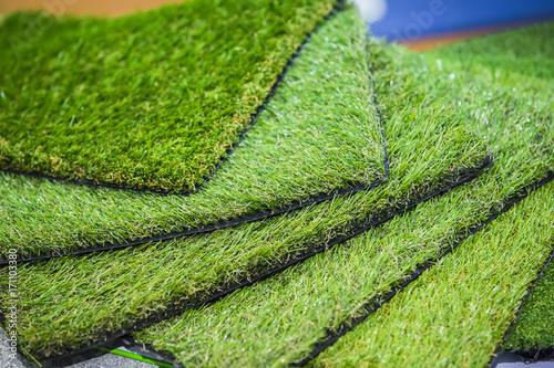 Photo Green artificial turf rolled