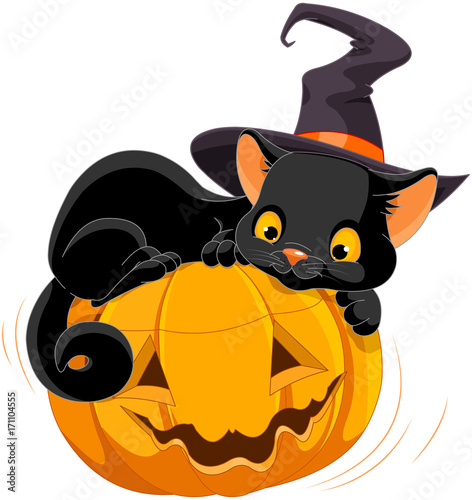 Poster Sprookjeswereld Halloween Kitten