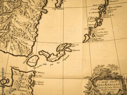 Cadres-photo bureau Carte du monde 古地図 千島列島
