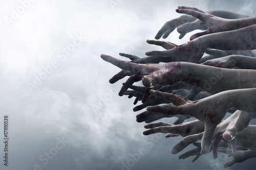 Crowd of stretched zombie hands Canvas