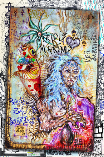 Foto op Aluminium Imagination Carte,collage,schizzi,disegni e manoscritti esoterici,astrologici,alchemici e misteriosi