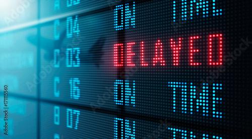 Fotografie, Obraz  LED Display - Airport flight status board