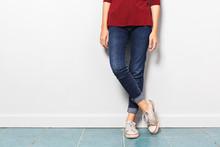 Asian Girl Leg With Jean Fashi...