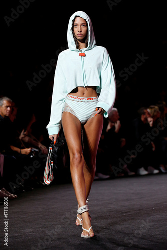 4eafe0a6f260 A model presents creations from singer and designer Rihanna s Fenty for Puma  Spring Summer 2018 collection during New York Fashion Week in New York