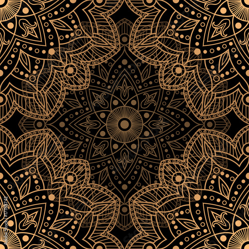 Golden Luxury Background Vector Gold Black Flower Pattern Design Floral Mandala Ornament For Wedding