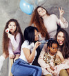 Lifestyle and people concept: young pretty diversity nations woman with different age children celebrating on birth day party together happy smiling, making selfie. African-american, asian and