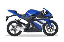 Blue Motorbike With Detail Vie...