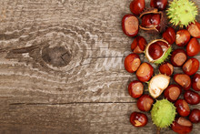 Chestnut On Old Wooden Backgro...