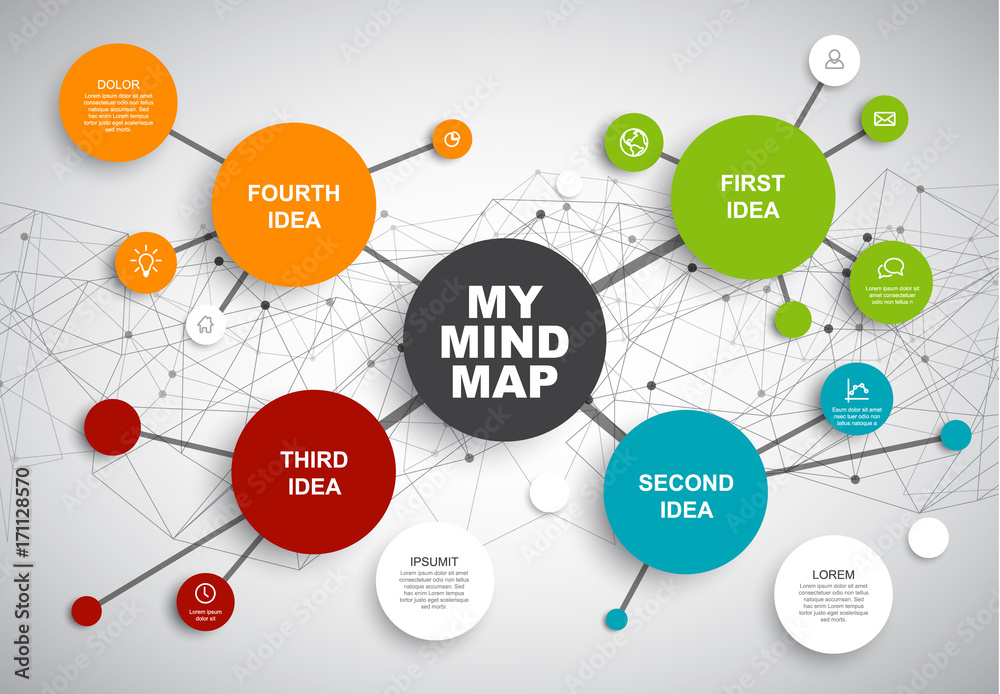 Fototapety, obrazy: Vector abstract mind map infographic template