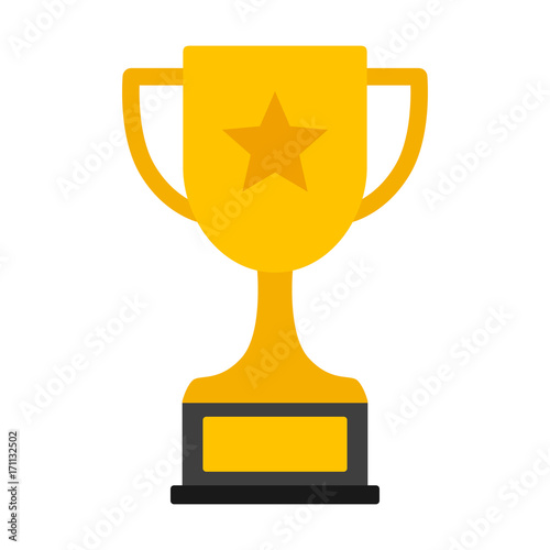 Obraz na plátně Gold achievement trophy with star for winning championship flat vector icon or i