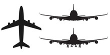 High-detailed Vector Plane Silhouette, Solid Illustration, Isolated On White.