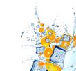 Water splash with citrus fruits. Citrus in water,